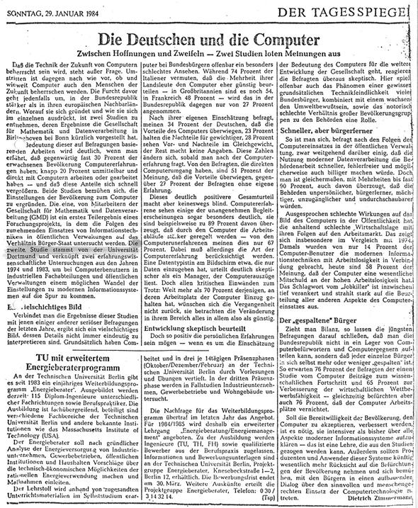 1984_01_29 Tagesspiegel Die Deutschen und die Computer