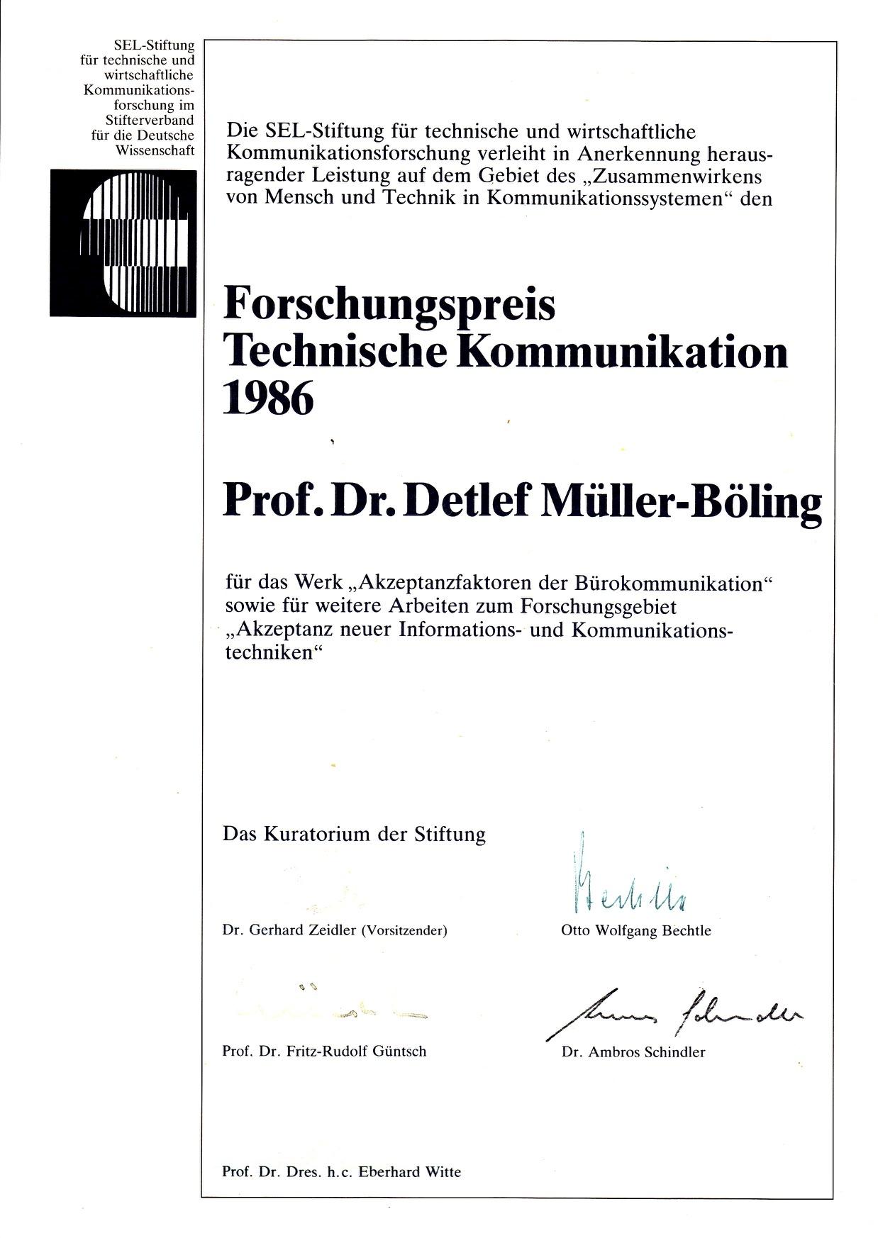 1986_09 SEL-Forschungspreis Urkunde
