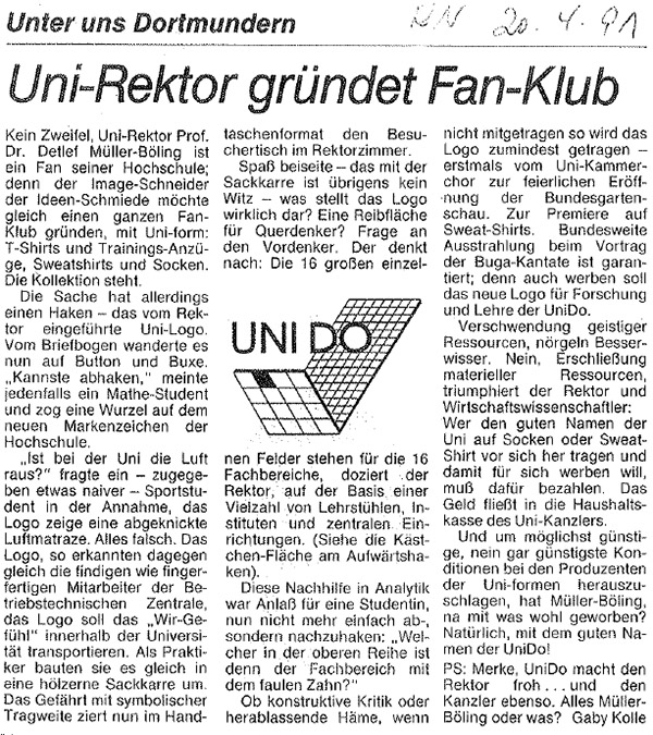 1991_04_20 RN Uni-Rektor gruendet Fan-Klub