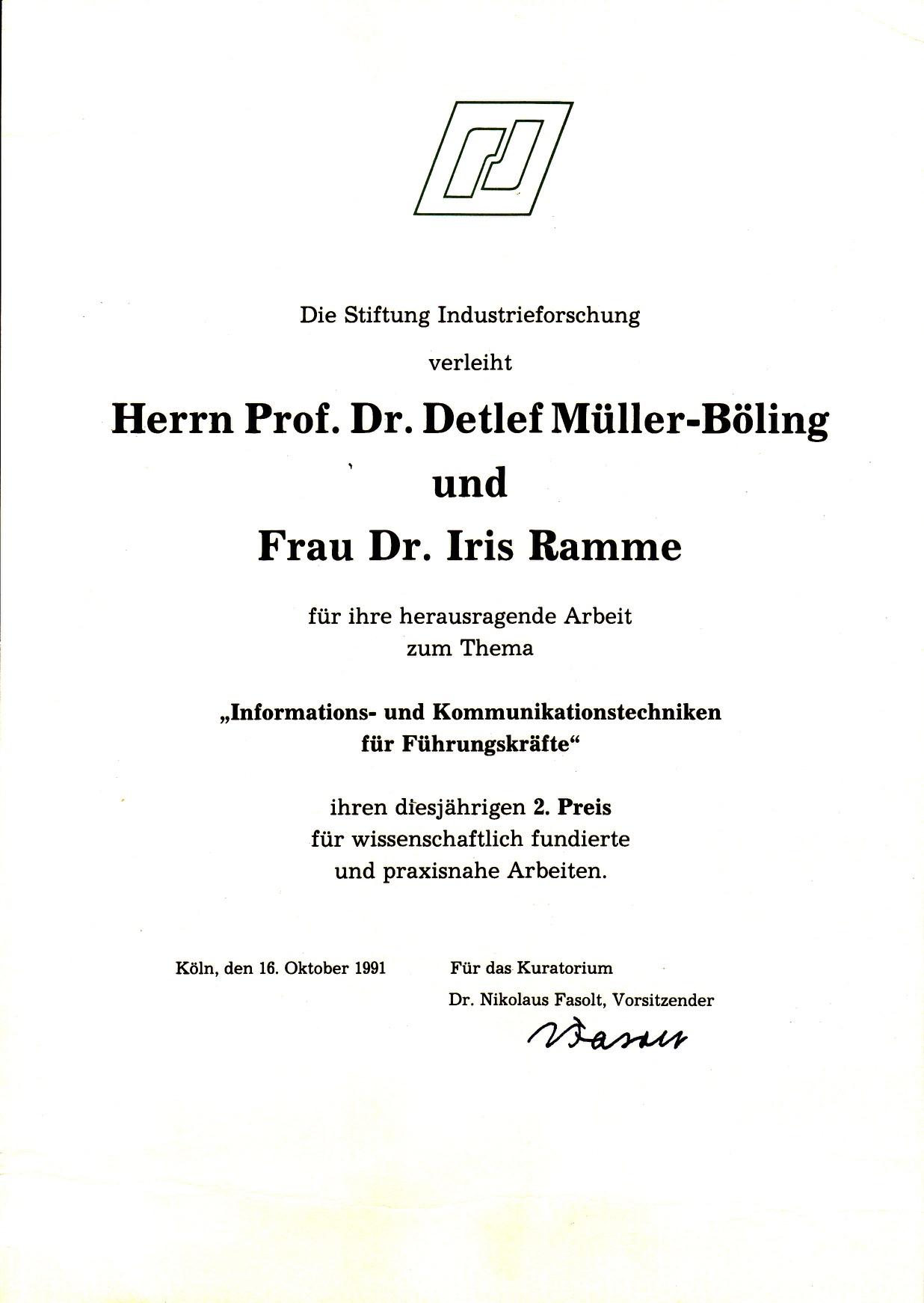 1991_10_16 Stiftung Industrieforschung Urkunde
