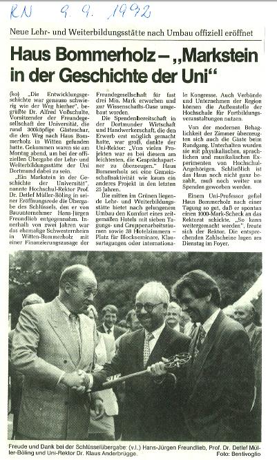 1992_09_09 RN Haus Bommerholz Markstein in der Geschichte der Uni