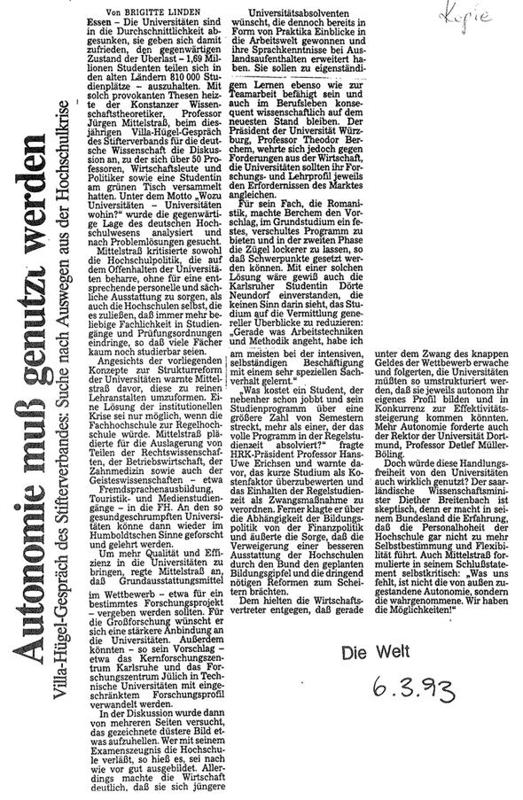 1993_03_06 Die Welt Autonomie muss genutzt werden
