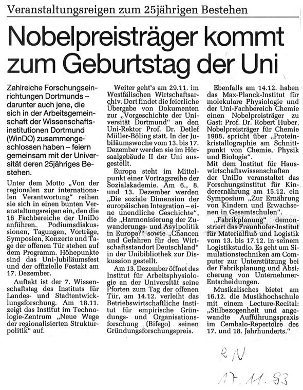 1993_11_17 RN Nobelpreistraeger kommt zum Geburtstag der Uni