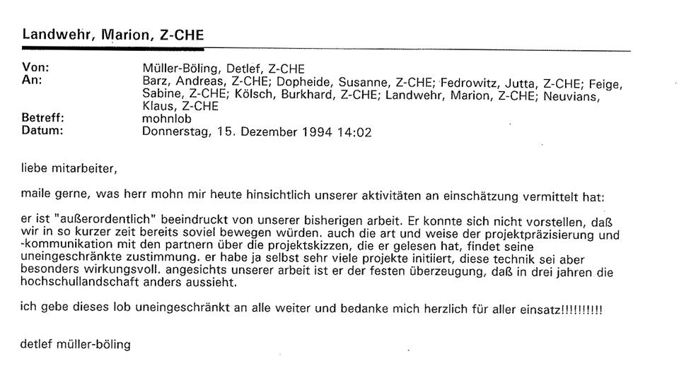 1994_12_15 Mail an Mitarbeiter Lob Mohn