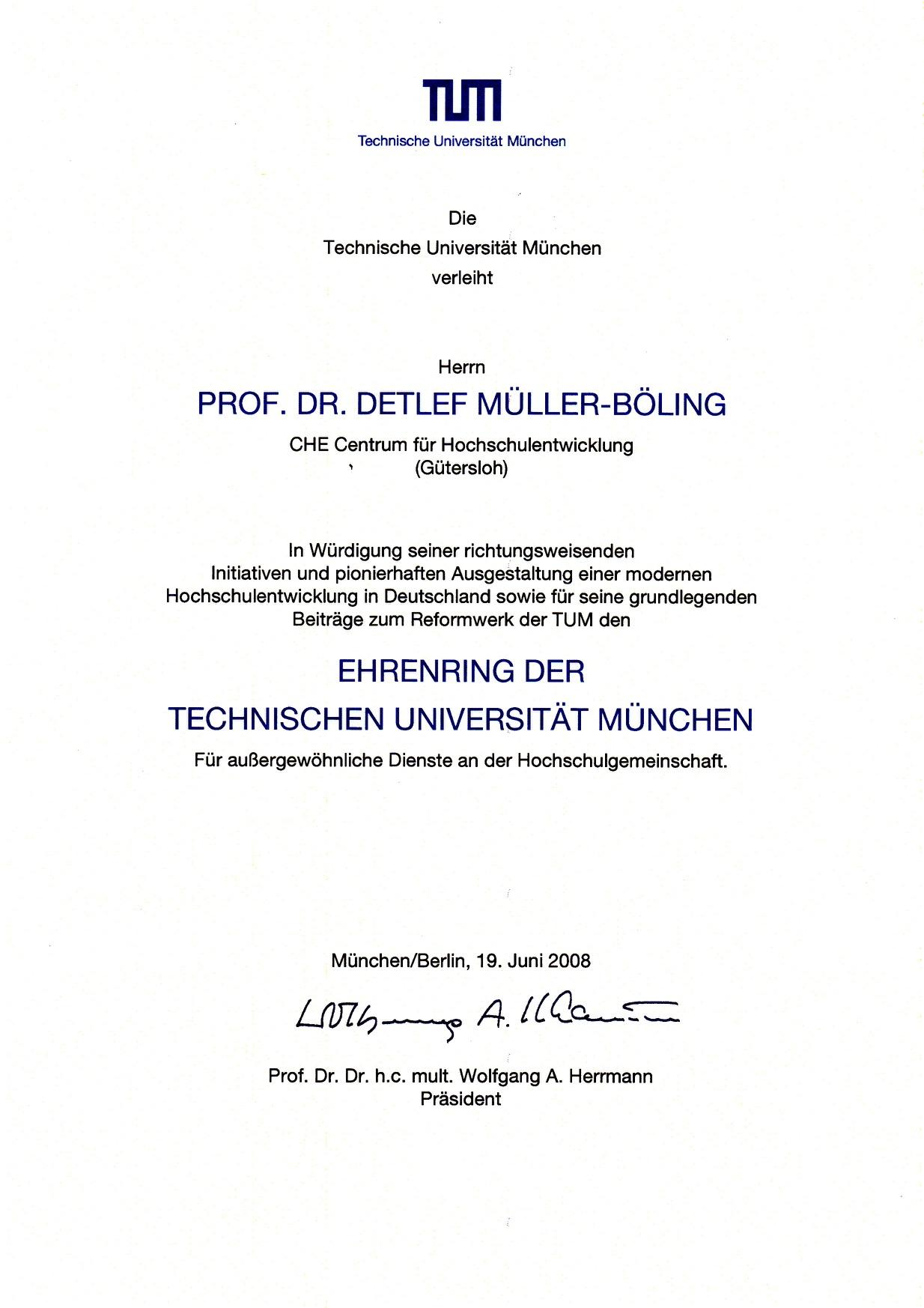 2008_06_19 Urkunde Ehrenring TUM