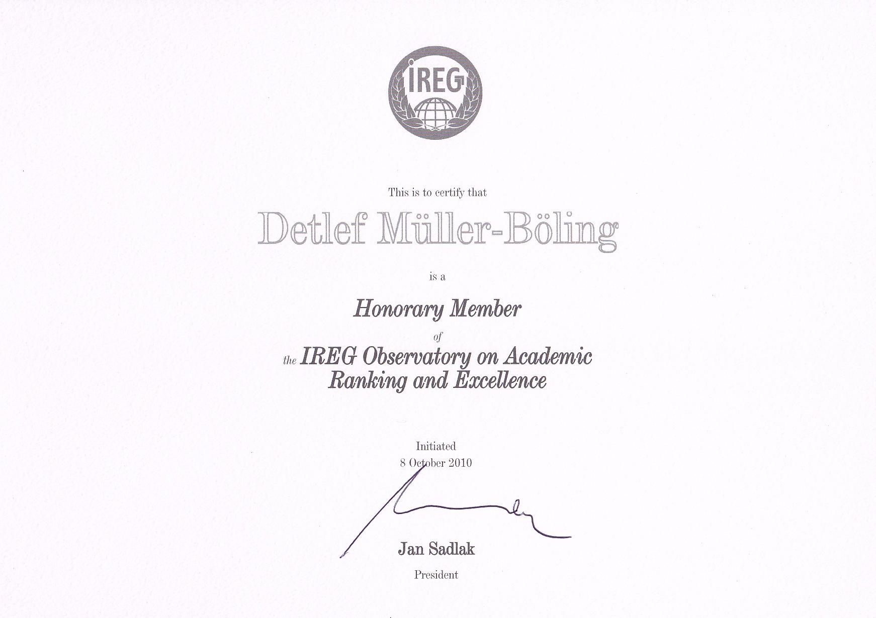 2010_10_08 IREG Honory Member Urkunde